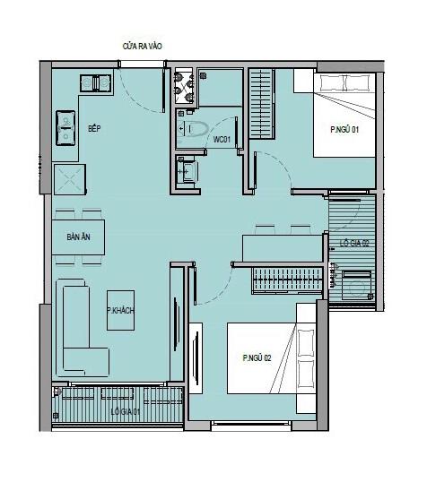 Mặt bằng căn hộ 2 phòng ngủ 1 Toilet tại chung cư VinCity Ocean Park