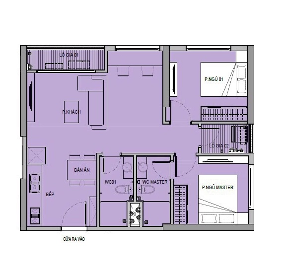 Mặt bằng căn hộ 2 phòng ngủ 2 Toilet tại chung cư VinCity Ocean Park