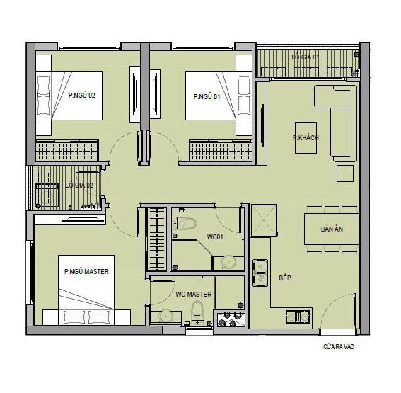 Mặt bằng căn hộ 3 phòng ngủ tại chung cư VinCity Ocean Park