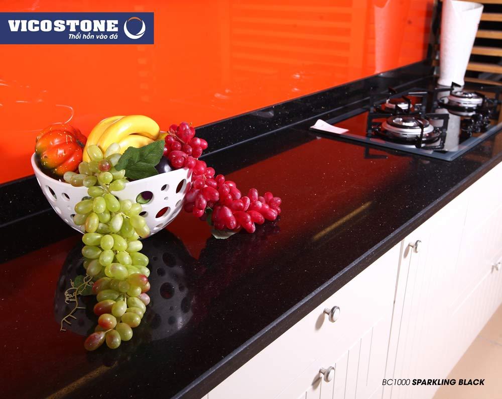 Mẫu đá bàn bếp VICOSTONE SPARKLING BLACK